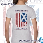 New York City Tartan Week Flag Ladies V-Neck Tee