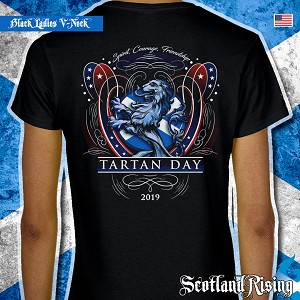 Official Scotland Rising 2019 Tartan Day USA Ladies Short Sleeve V-Neck