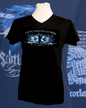 Ladies  V-Neck Style-Nice Set of Pipes Short Sleeve